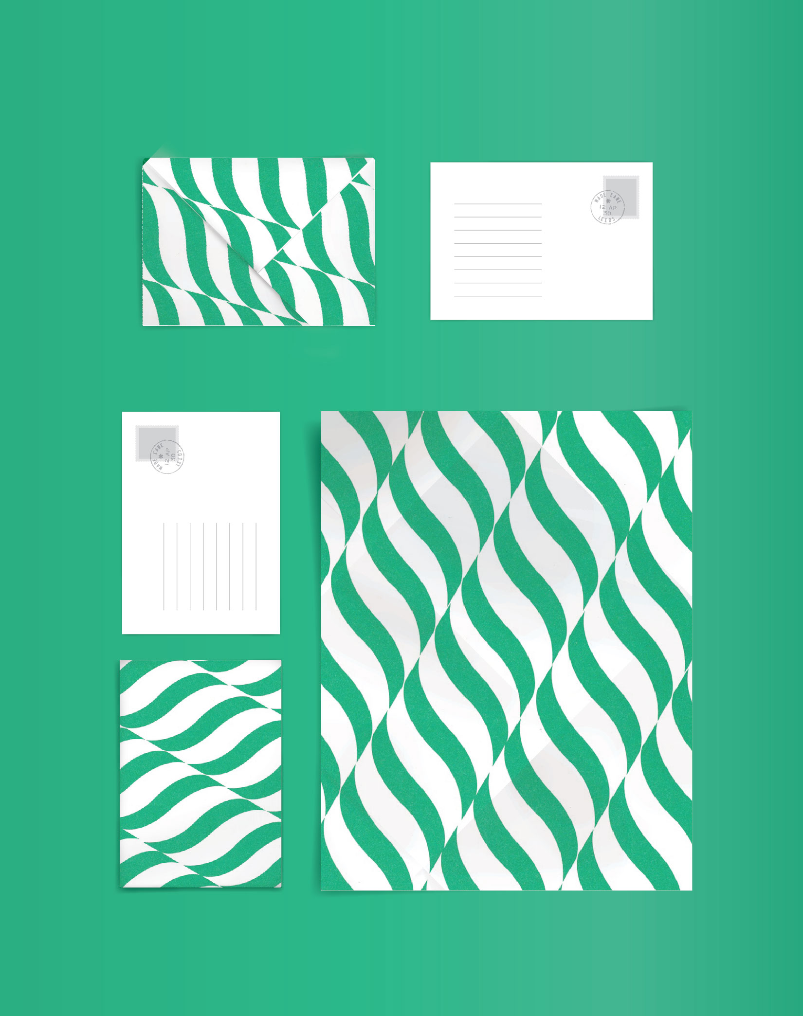 origami envelope_ design layout green
